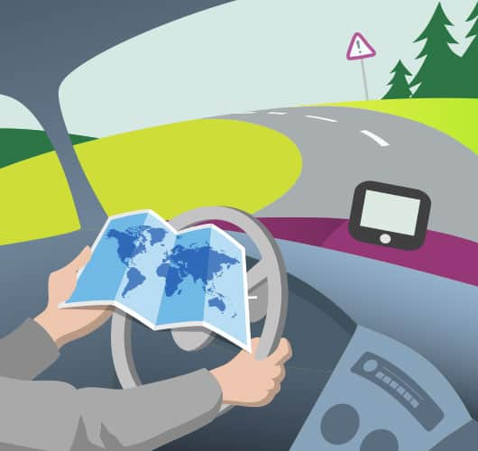 Operating a sat nav or reading a map whilst driving